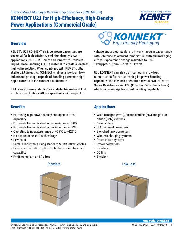KEMET KONNEKT U2J Series Capacitors