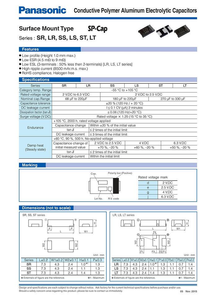 Panasonic ST/LT/SS/LS/SR/LR Series Aluminum Polymer Capacitors
