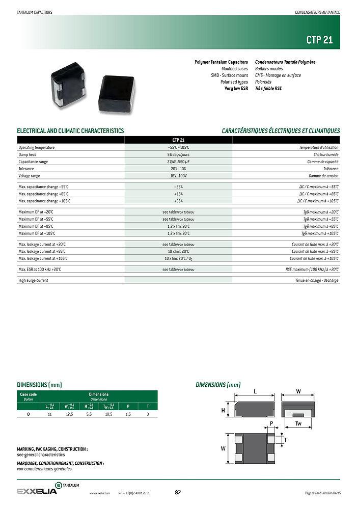 Exxelia CTP 21 Series Tantalum Capacitors