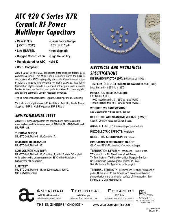 ATC 920C Series High RF Power Chip Capacitors