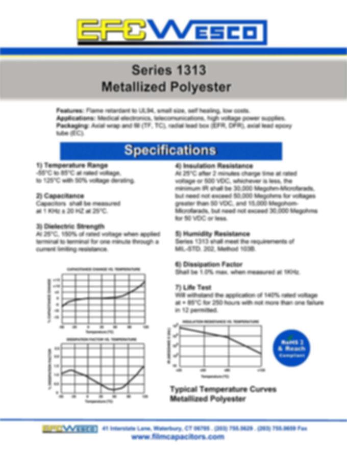 EFC Wesco 1313 Series Metallized Polyester Capacitors