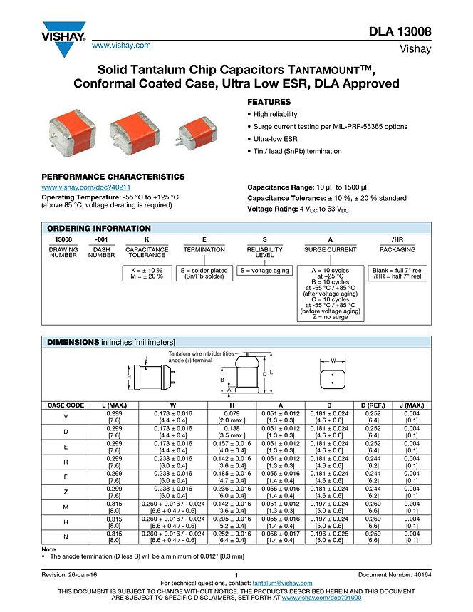 Vishay DLA 13008 Series Tantalum Capacitors