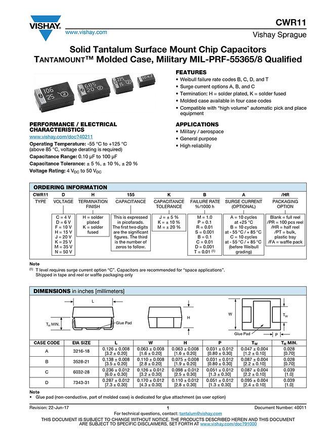 Vishay CWR11 Series Tantalum Capacitors