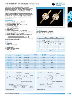 Johanson Manufacturing Thin Trim Ceramic Trimmer Capacitors