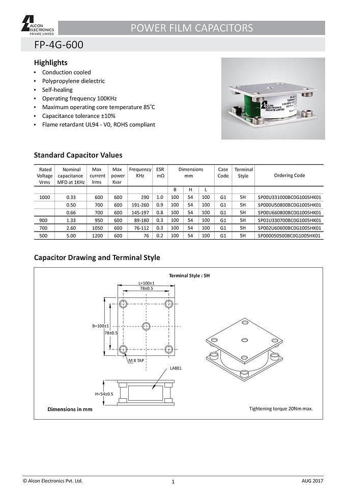 Alcon Electronics FP-4G-600 Series Film Capacitors