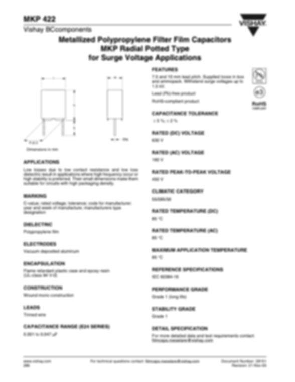 Vishay MKP 422 Series Plastic Film Capacitors