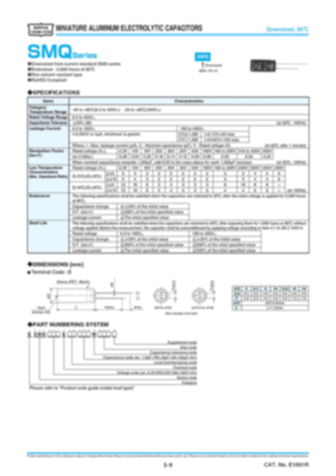Nippon Chemi Con SMQ Series Aluminum Electrolytic Capacitors