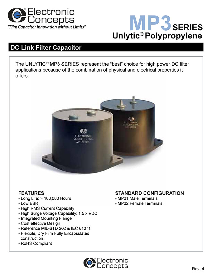 Electronic Concepts MP3 Series Polypropylene Capacitors