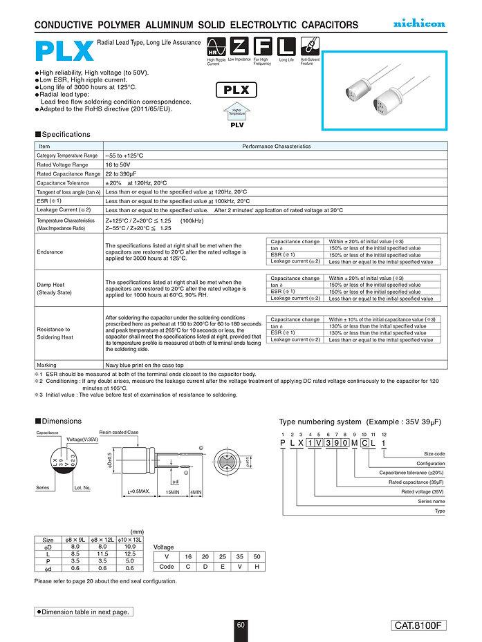 Nichicon PLX Series Aluminum Polymer Capacitors