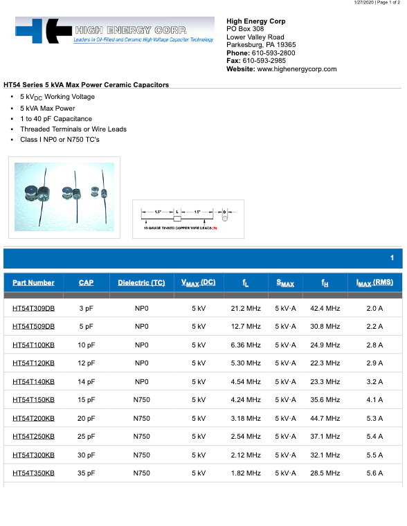 High Energy Corp. HT54 Series