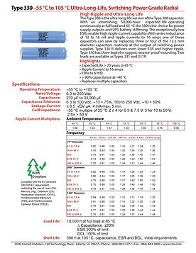 CDE Type 330 Aluminum Electrolytic Capacitors