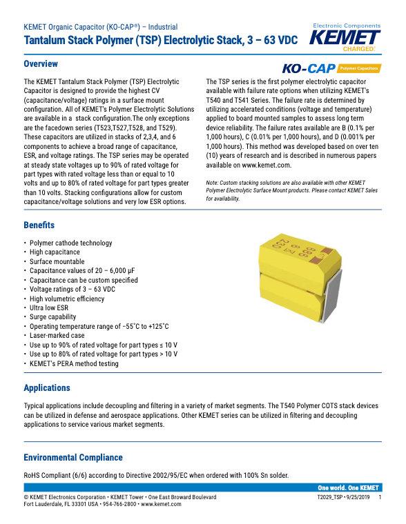 KEMET TSP Tantalum Polymer Stack