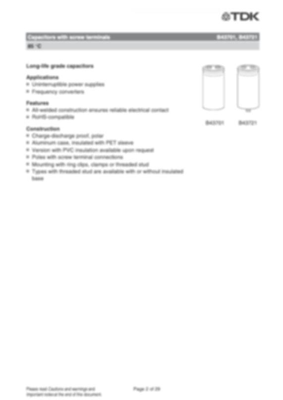 Epcos B43701 Series Screw Terminal Electrolytic Capacitors