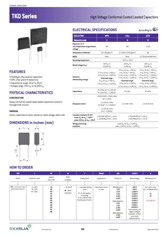 Exxelia TKD Series MLC Capacitors