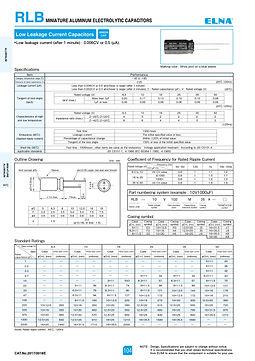 Elna RLB Series Aluminum Electrolytic Capacitors