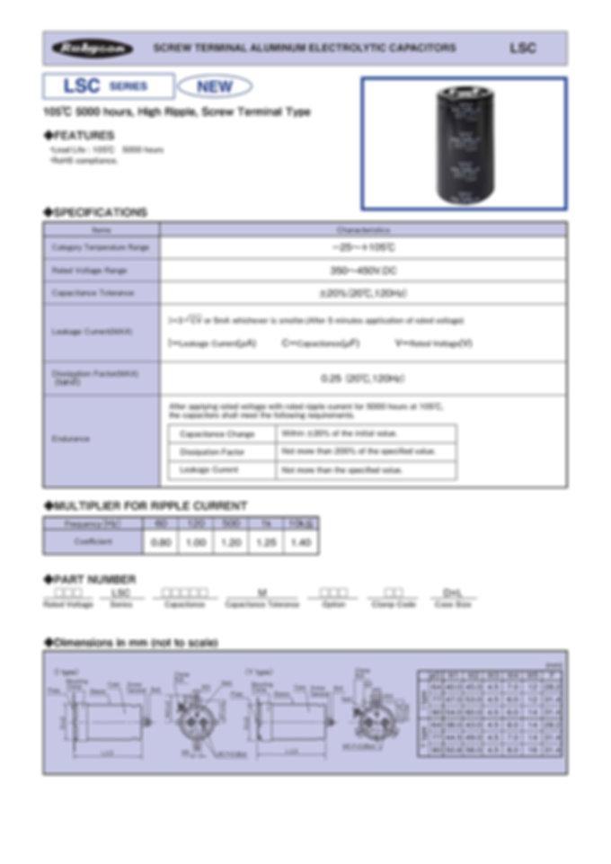 Rubycon LSC Series Screw Aluminum Capacitors