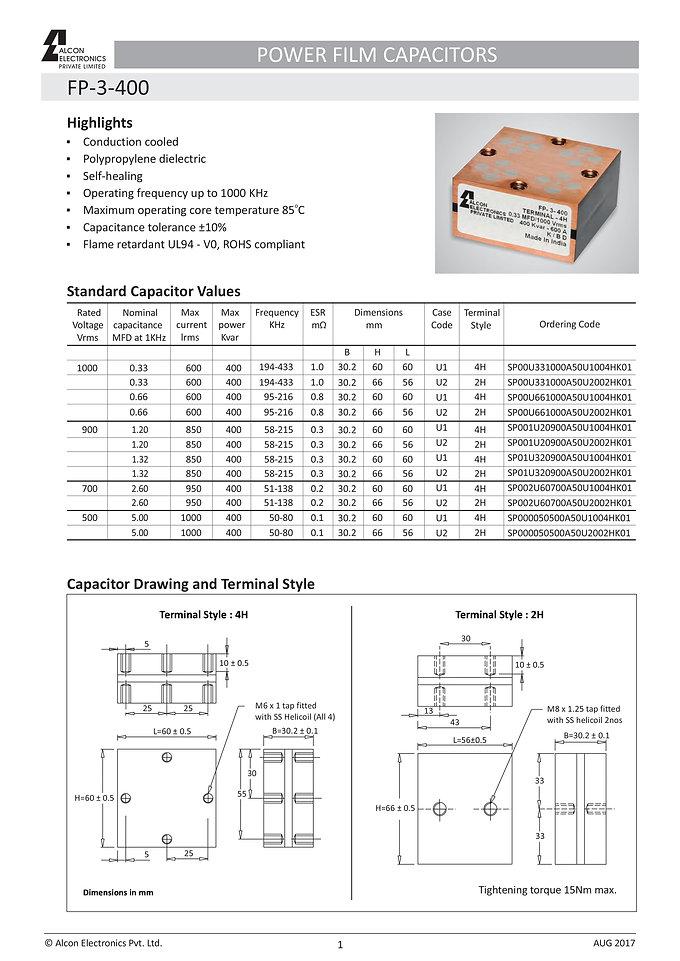 Alcon Electronics FP-3-400 Series Film Capacitors