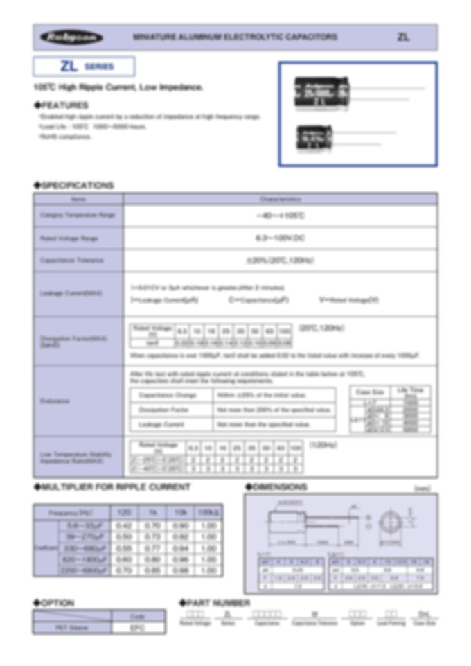 Rubycon ZL Series Radial Aluminum Electrolytic Capacitors