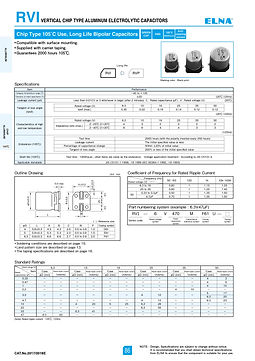 Elna RVI Series Aluminum Electrolytic Capacitors