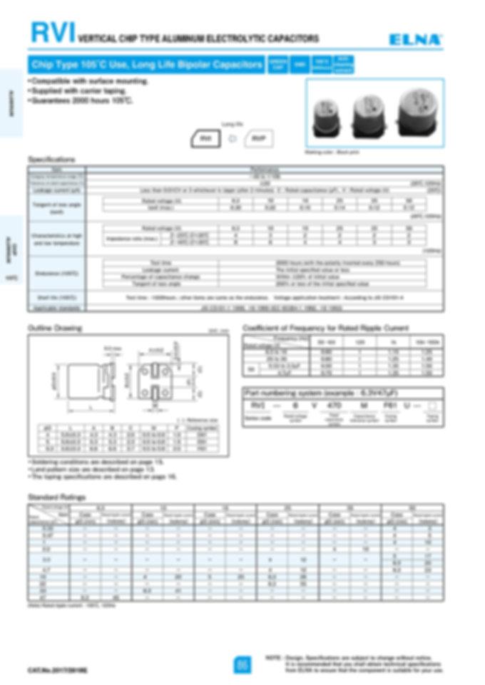 Elna RVI Series Aluminum Electrolytic Capacitors