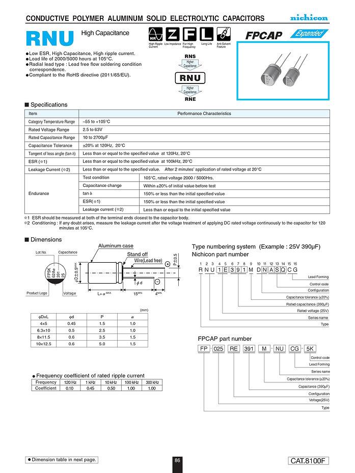 Nichicon RNU Series Aluminum Polymer Capacitors
