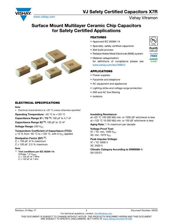 Vishay VJ Safety Certified X7R Series MLC Capacitors