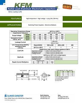 Illinois Capacitor KFM Series Radial Aluminum Electrolytic Capacitors