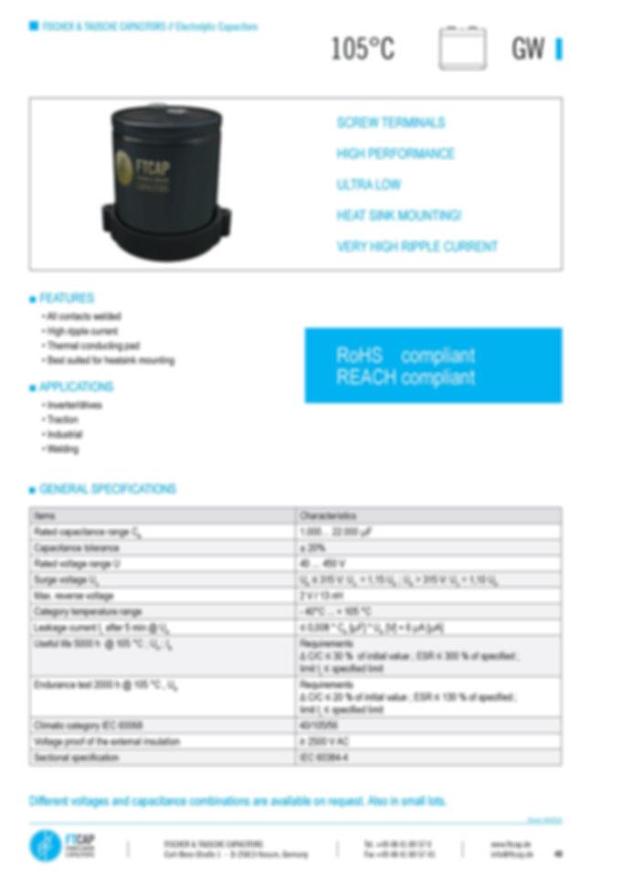 Fischer & Tausche GW Series Aluminum Capacitors