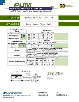 Illinois Capacitor PUM Series Radial Aluminum Electrolytic Capacitors