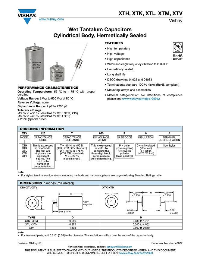 Vishay XT... Series Tantalum Capacitors