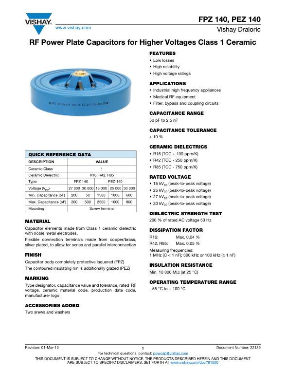 Vishay FPZ, PEZ 140 Series RF Power Ceramic Capacitors
