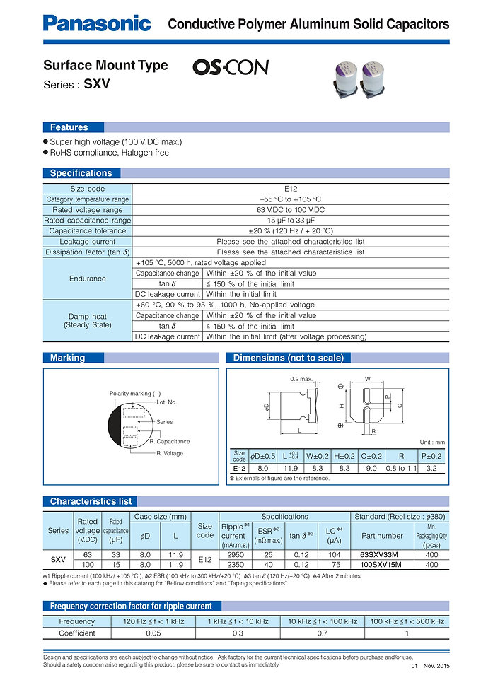 Panasonic SXV Series Aluminum Polymer Capacitors