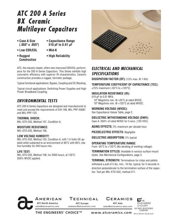 ATC 200A Series BX Ceramic Chip Capacitors