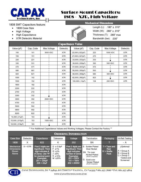 Capax 1808 X7R SMT Multilayer Ceramic Capacitors