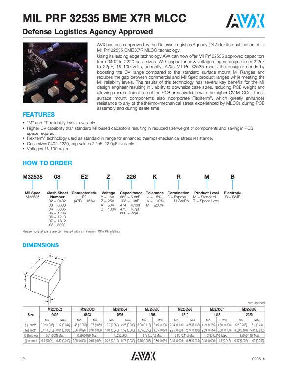 AVX MIL-PRF-32535 BME X7R MLC Capacitors