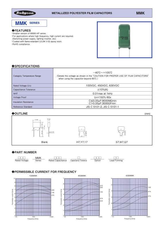 Rubycon MMK Series Radial Plastic Film Capacitors