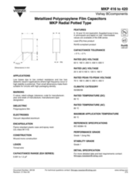 Vishay MKP 4xx Series Plastic Film Capacitors