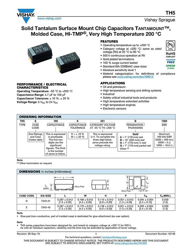 Vishay TH5 Series Tantalum Capacitors