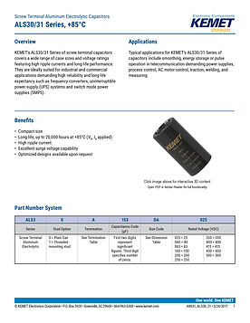KEMET ALS30/31 Series Aluminum Electrolytic Capacitors