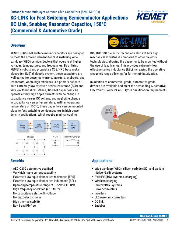 KEMET KC-LINK MLC Capacitors