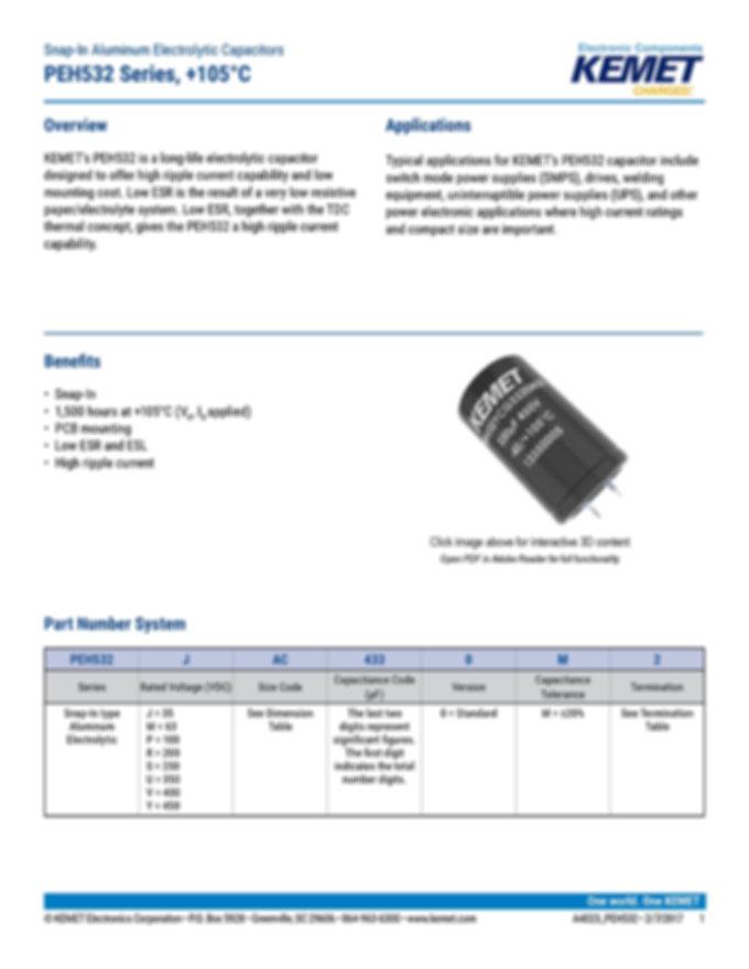KEMET PEH532 Series Aluminum Electrolytic Capacitors