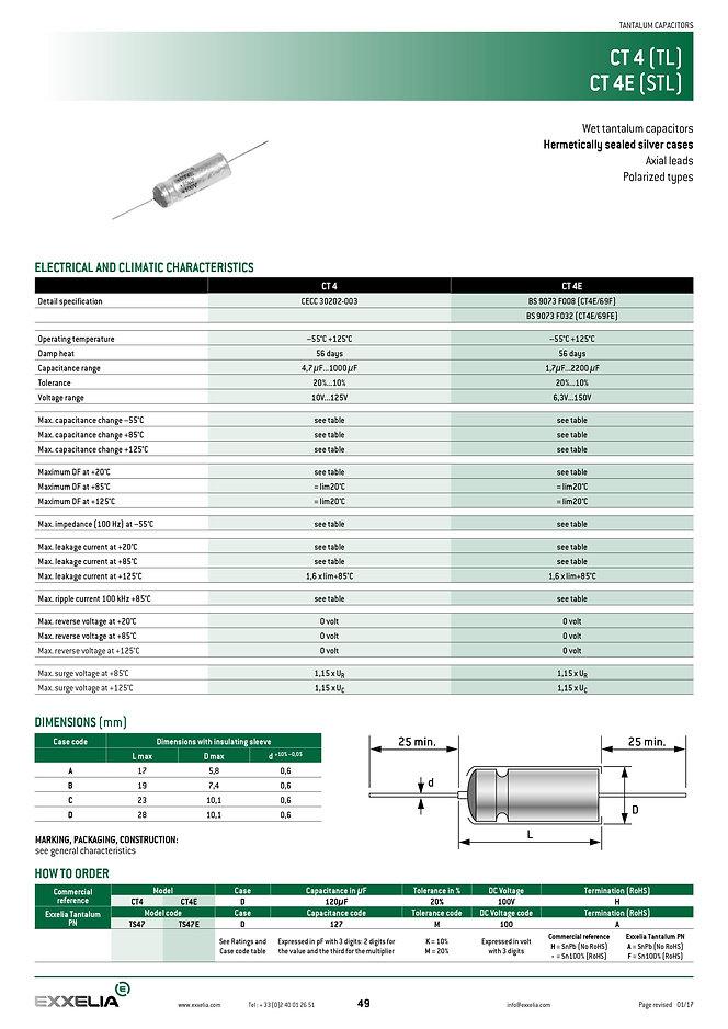 Exxelia CT4.CT4E Series Wet Tantalum Capacitors