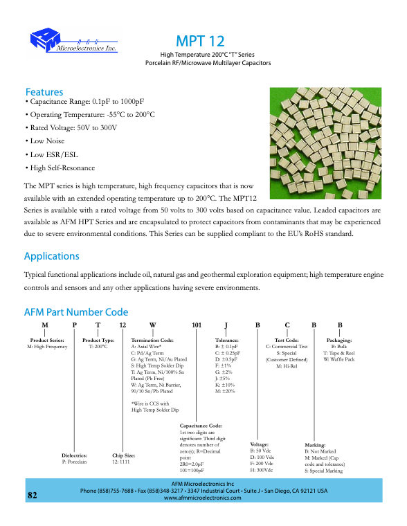 AFM Microelectronics MPT12 Series MLC Chip Capacitors