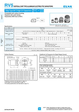Elna RV5 Series Aluminum Electrolytic Capacitors