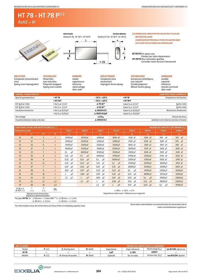 Exxelia HT 78 Series Film Capacitors