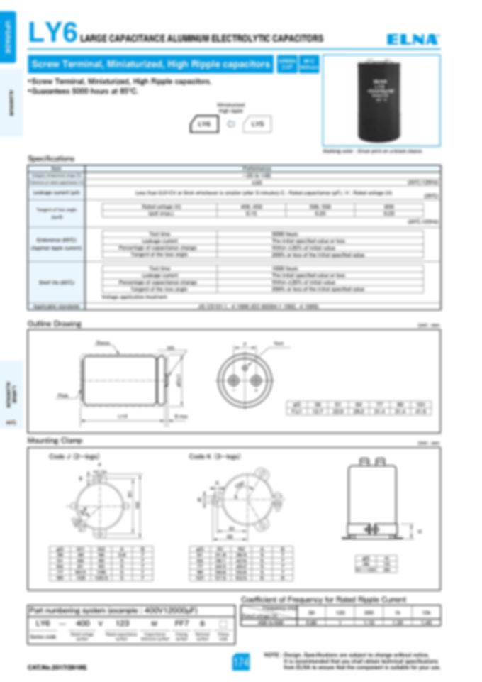 Elna LY6 Series Aluminum Electrolytic Capacitors