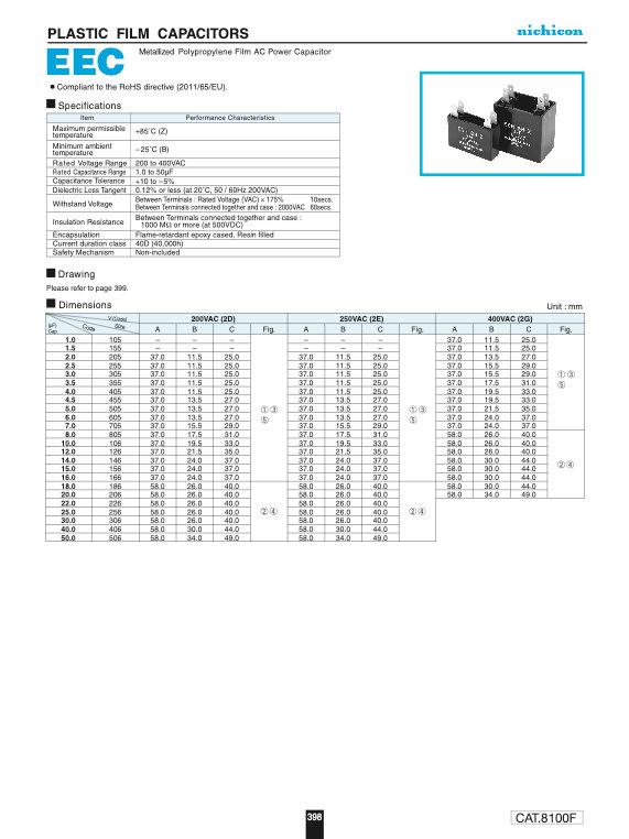 Nichicon EEC Series Plastic Film Capacitors