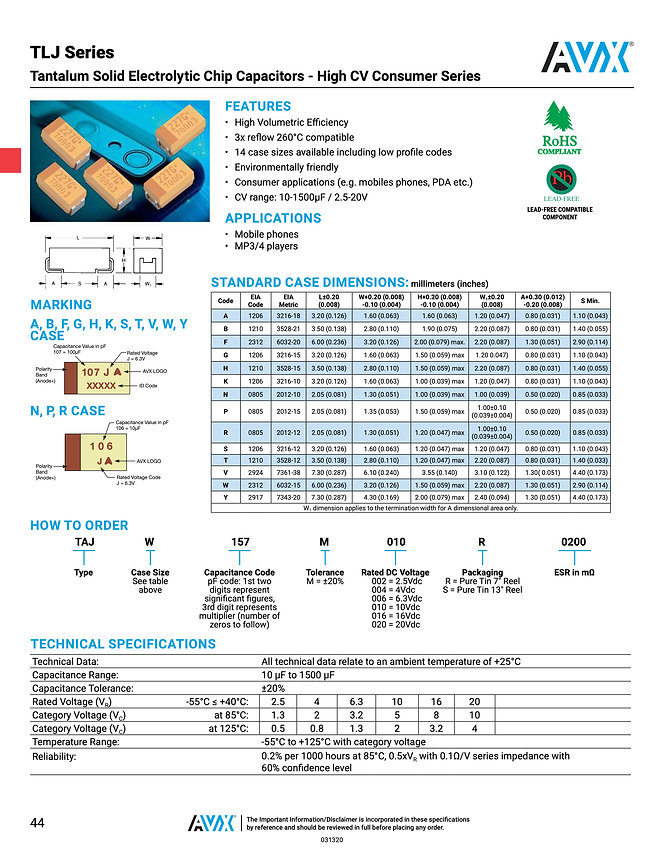 AVX TLJ Series Tantalum Capacitors
