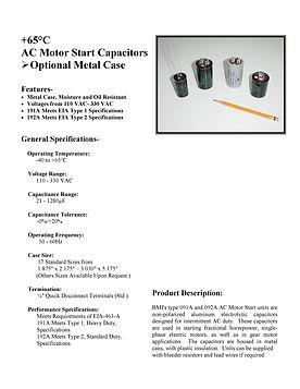 BMI Motor Start Capacitors w/- Optional Metal Case
