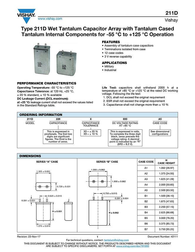 Vishay 211D Series Wet Tantalum Capacitor Module